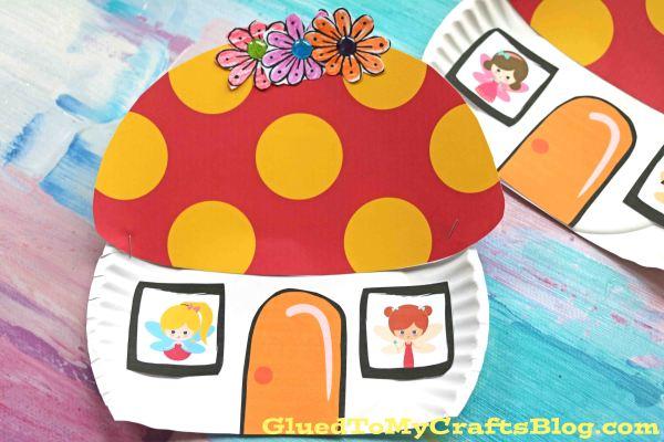 Paper Plate Mushroom Fairy House - Kid Craft Idea
