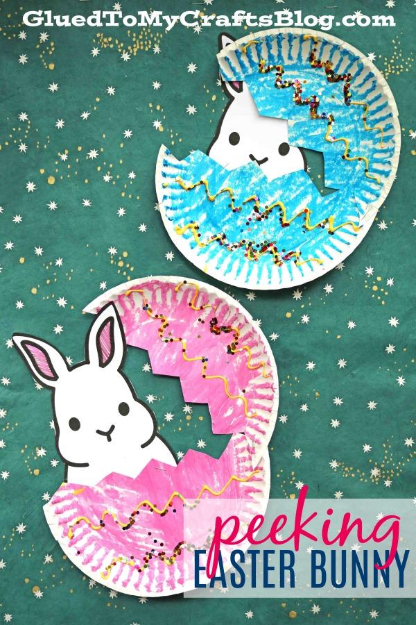 Paper Plate Peeking Easter Bunny - Kid Craft