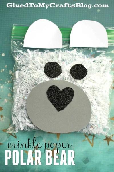 Crinkle Paper Polar Bear - Kid Craft Idea
