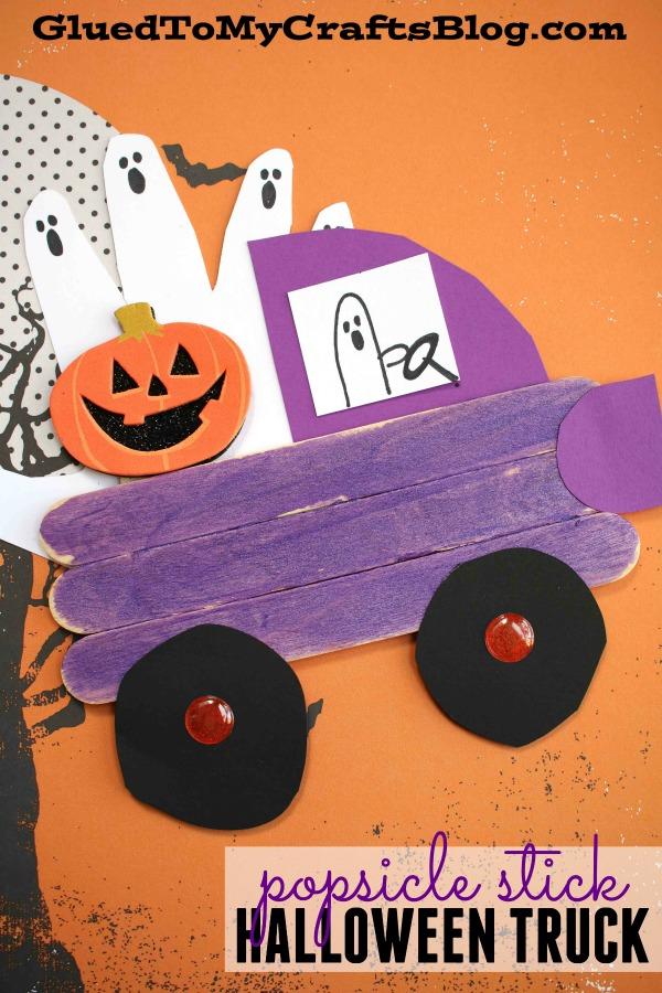 Popsicle Stick Halloween Truck - Kid Craft