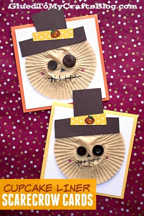 Cupcake Liner Scarecrow Cards - Kid Craft Idea