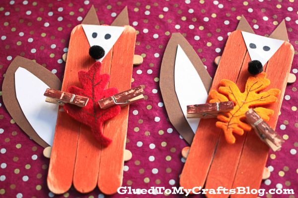 Craft Stick Leaf Holding Fox - Kid Craft