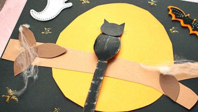 Paper Halloween Kid Craft - Black Cat On Tree Branch