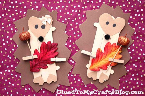 Craft Stick Fall Hedgehog - Kid Craft