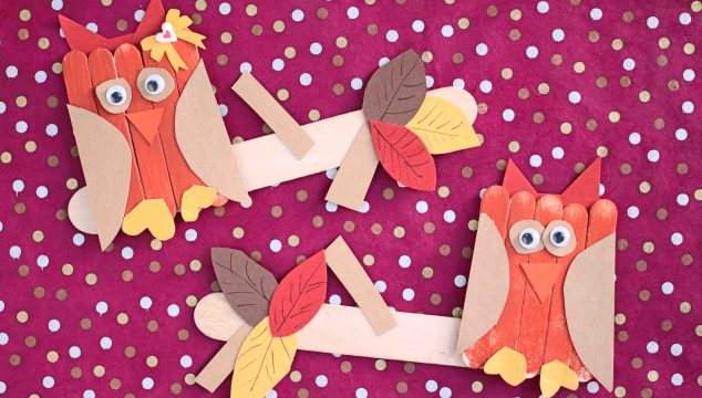 Craft Stick Owl On Branch - Kid Craft