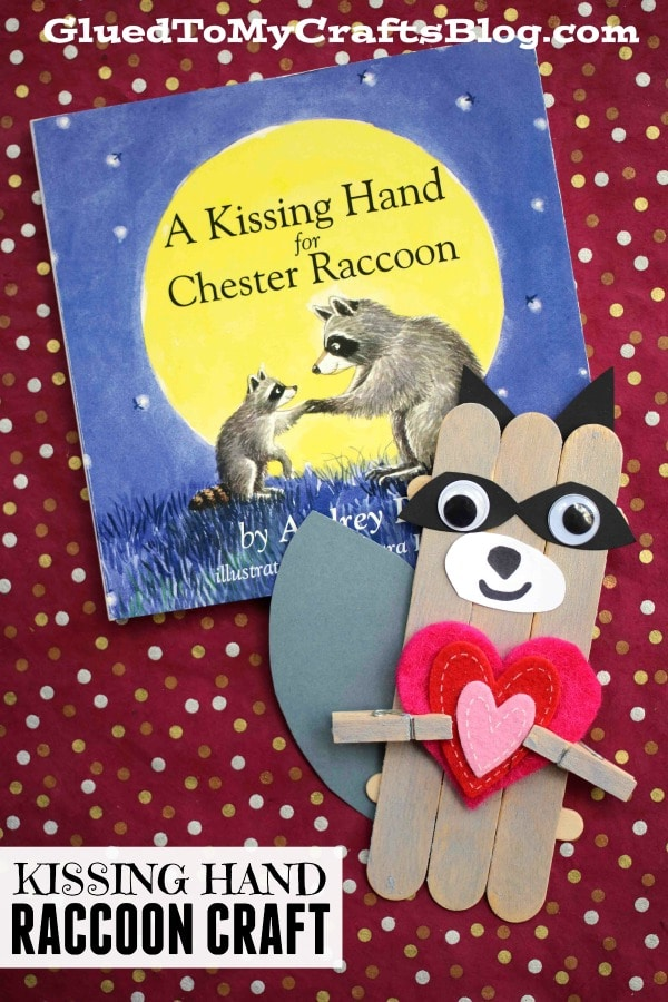 Popsicle Stick Kissing Hand Raccoon - Kid Craft