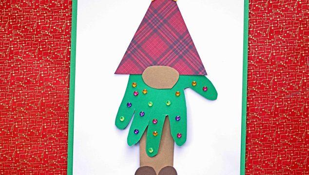 Handprint Christmas Tree Gnome - Kid Craft