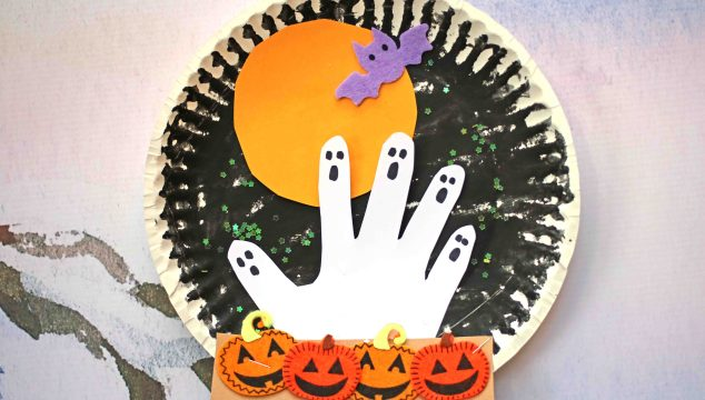 Haunted Paper Plate Pumpkin Patch At Night - Kid Craft