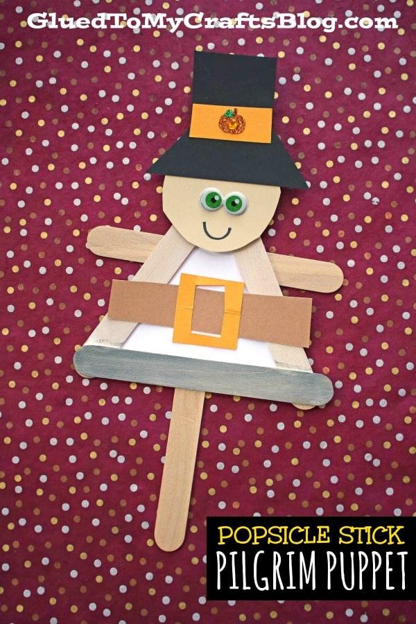 Craft Stick Pilgrim Puppet Friend - Kid Craft