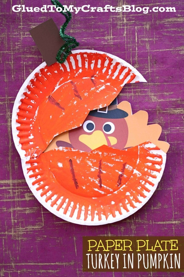 Paper Plate Turkey Hiding In A Pumpkin Kid Craft Glued