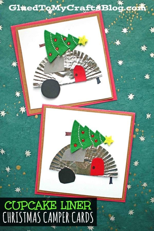 Cupcake Liner Christmas Camper Cards