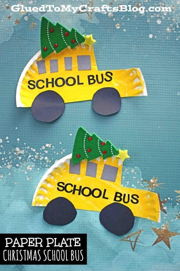 Paper Plate Christmas School Bus - Kid Craft