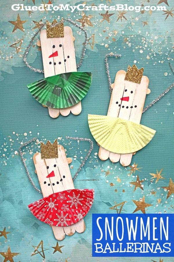 Craft Stick Snowman Ballerina Puppets