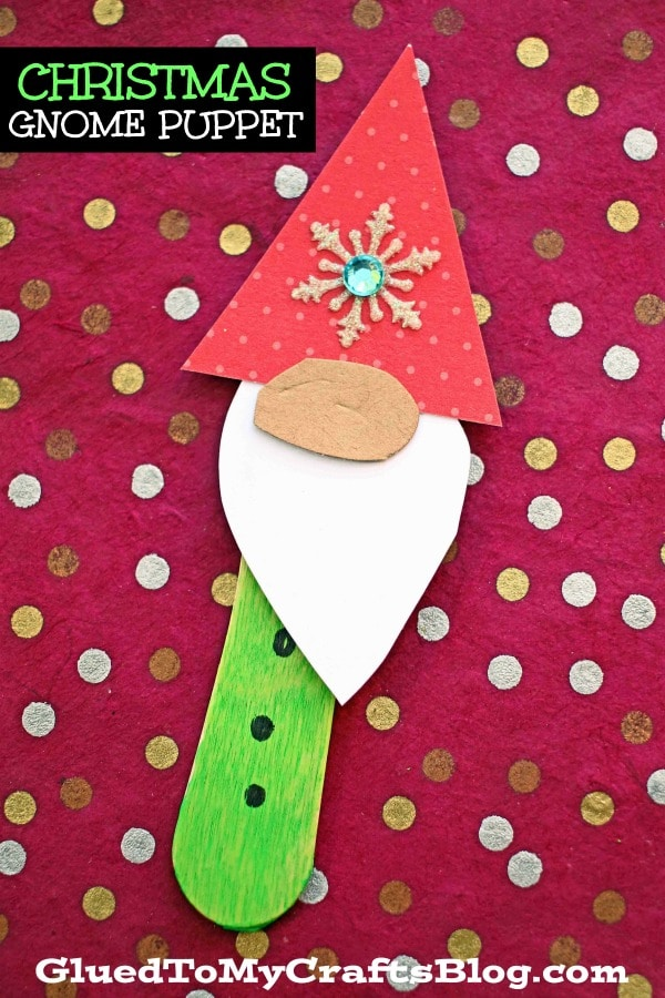 Christmas Gnome Scoop Stick Puppets - Kid Craft