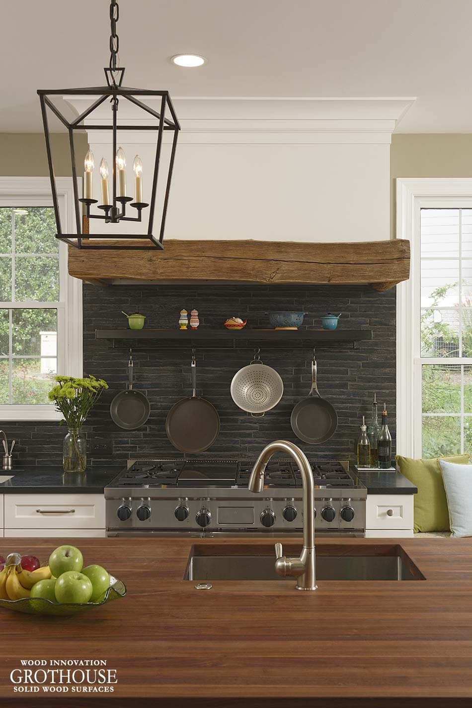 Walnut Wood Kitchen Island Top in Cabin John, MD on Farmhouse Kitchen Farmhouse Granite Countertops  id=63171