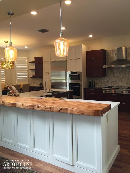 Tigerwood Countertop with Faux Live Edge in Florida Tigerwood Faux Live Edge Countertop FL