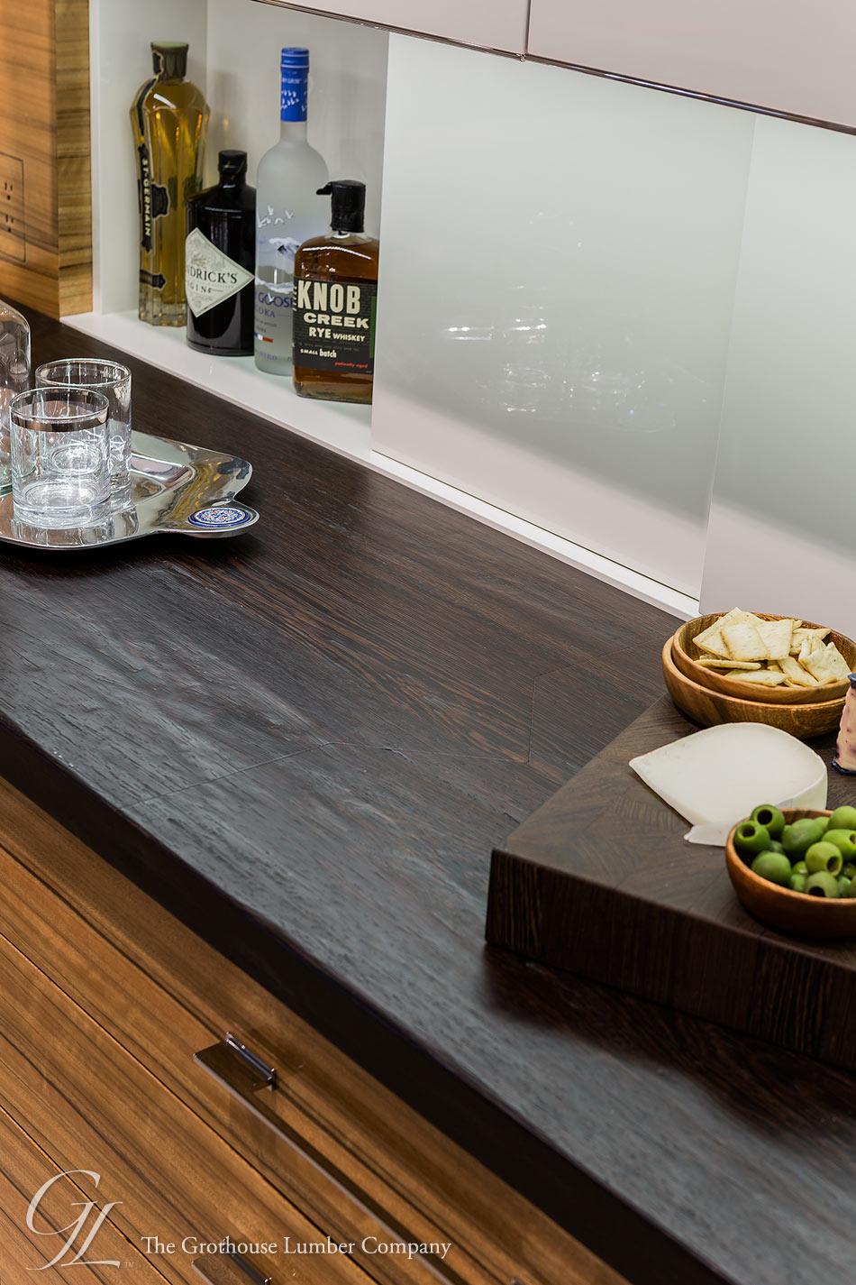 Wenge Wood Counter With Hand Planed Distressing In MA