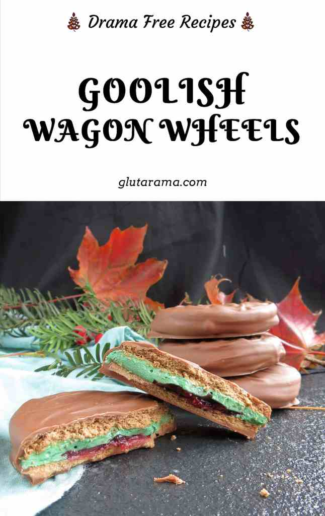 Wagon Wheels; made with Halloween in mind but these can be made without the green food colouring for any other time of the year. this Wagon Wheel is my gluten free version of the classic British favourite chocolate biscuit. #glutenfree #wagonwheel #freefrom #chocolatebiscuit #freefromgang
