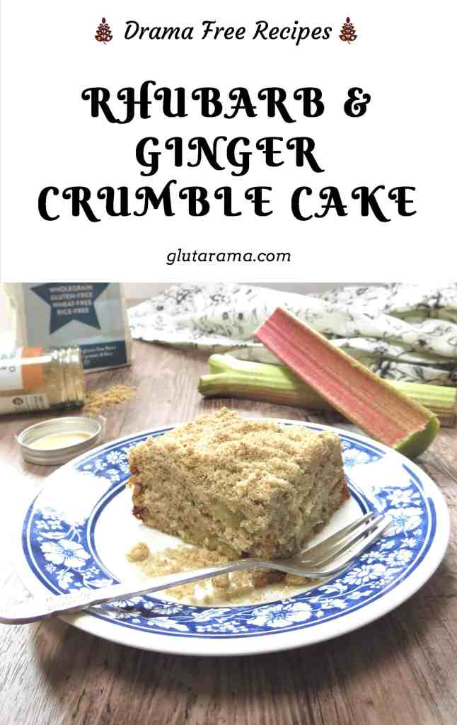 Rhubarb & Ginger Crumble Cake; gluten free and packed with flavour, this crumble cake combines the powerful flavours of rhubarb and ginger in a match made in heaven #glutenfree #rhubarb #crumble #seasonalfruit