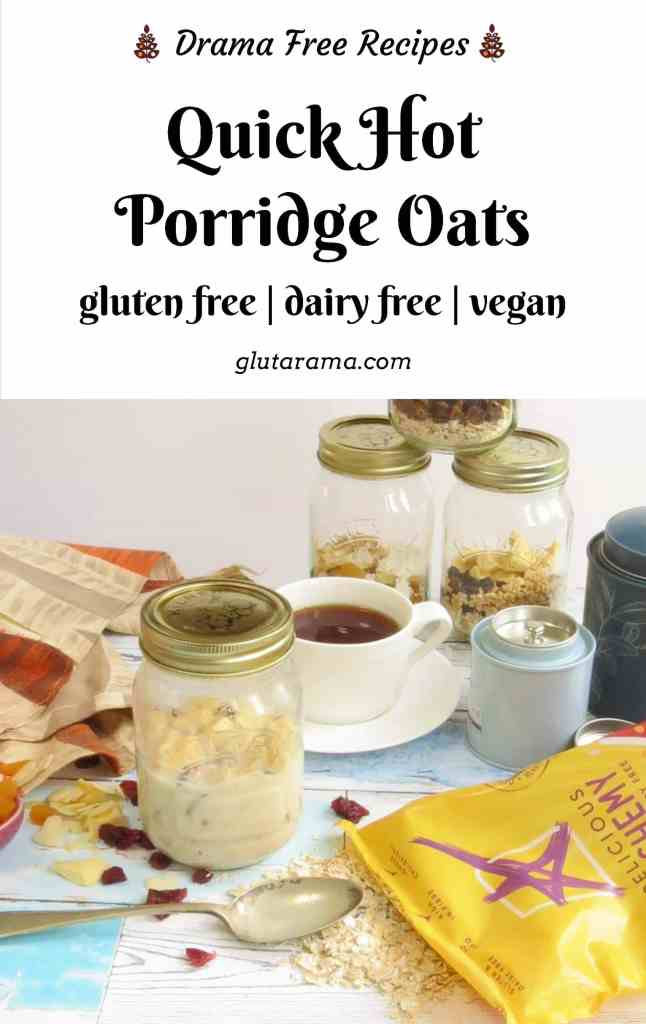 Quick Hot Porridge Oats, gluten free oats from Delicious Alchemy; makes a delicious gluten free breakfast on the go that's also dairy free and vegan too depending on the ingredients you choose. #glutenfree #porridge #overnightoats #breakfast #easyrecipes #freefrom #dairyfree #vegan