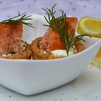Hot Smoked Salmon & Cream Cheese Tartlets with Parmesan Pastry – gluten free