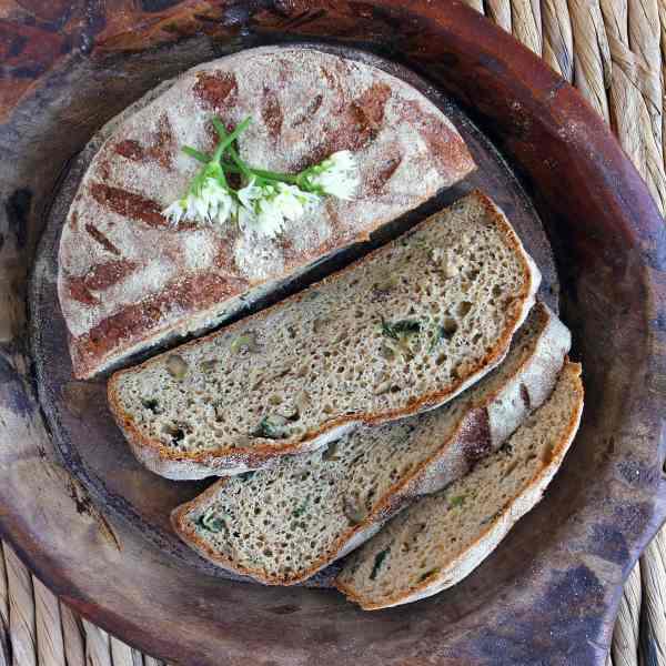 Gluten Free Cheese Bread with Walnuts and Wild Garlic