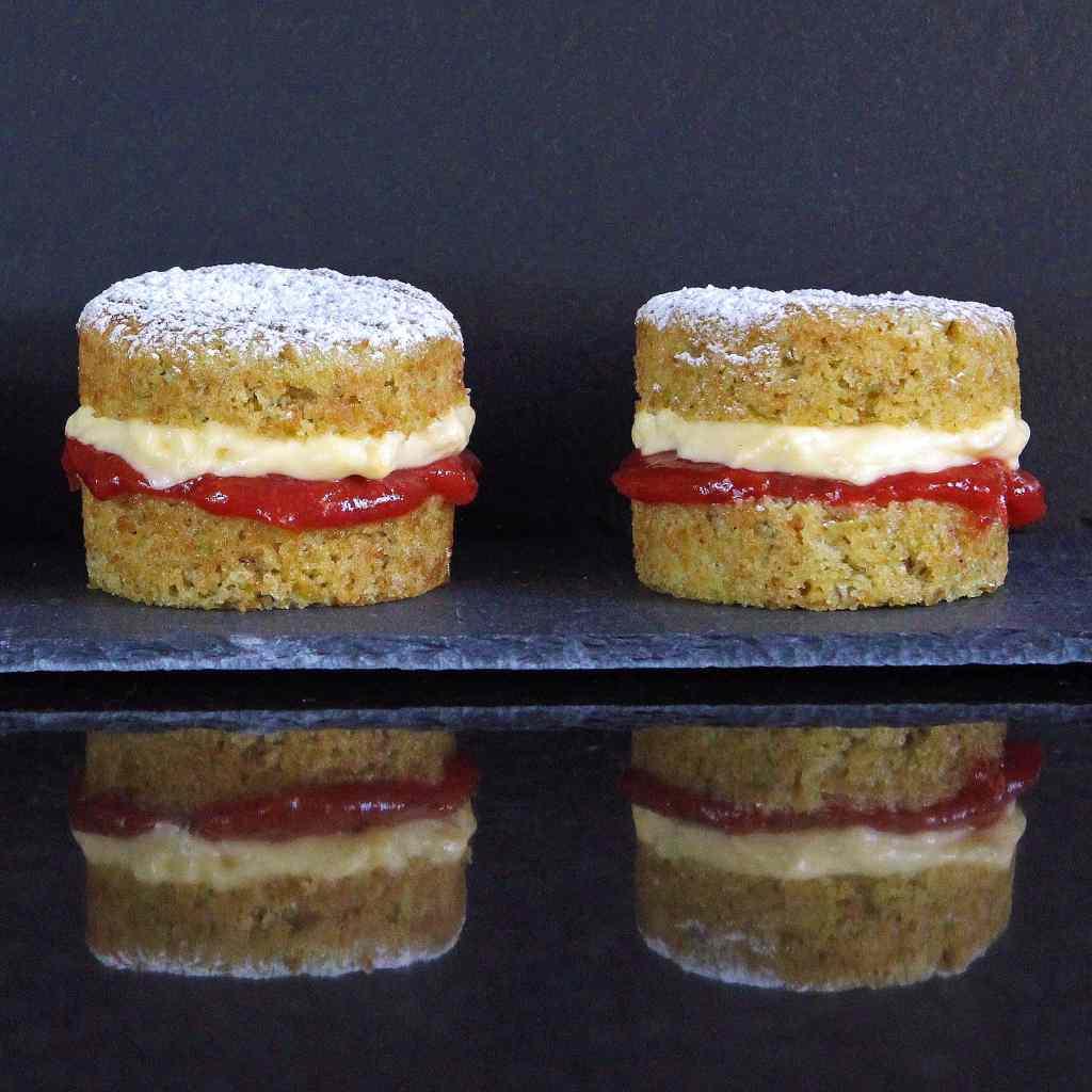 pistachio-cakes-rhubarb-custard