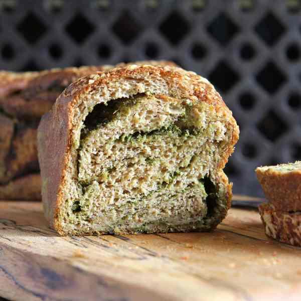 Gluten Free Pesto Babka – with wholemeal bread dough