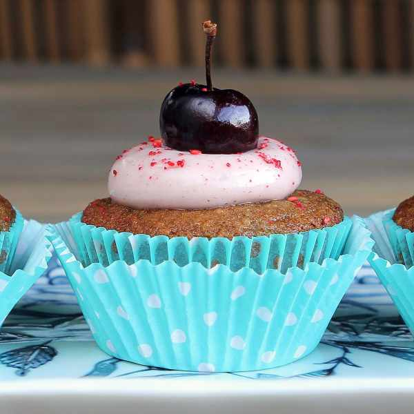 Courgette Cherry Cupcakes (Gluten Free) + Cherry Cream Cheese Frosting