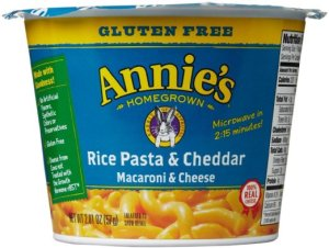 Annie's Homegrown Mac and Cheese Micro Cups: Single Pack - Gluten Free Rice Pasta and Cheddar - 2.01 oz - 12 Pack