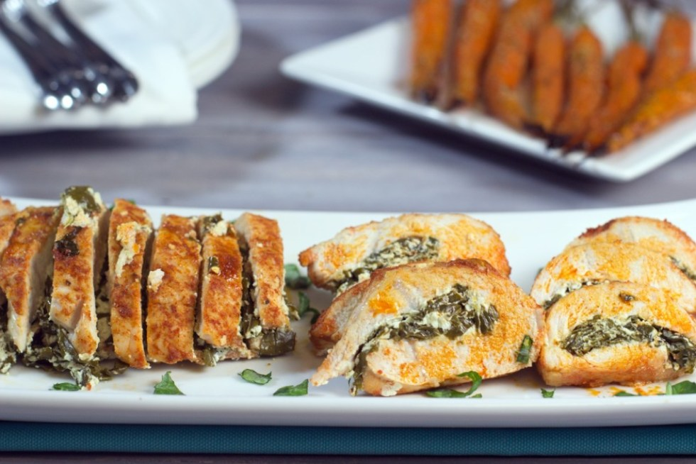 Turkey Tenderloin stuffed with Kale and Goat Cheese