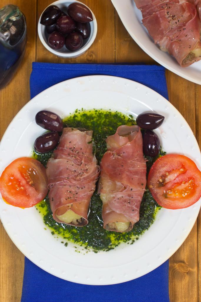 Mozzarella Wrapped In Prosciutto With Basil Sauce