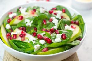 gluten free, paleo, spinach, salad, pomegranate, seeds, goat cheese