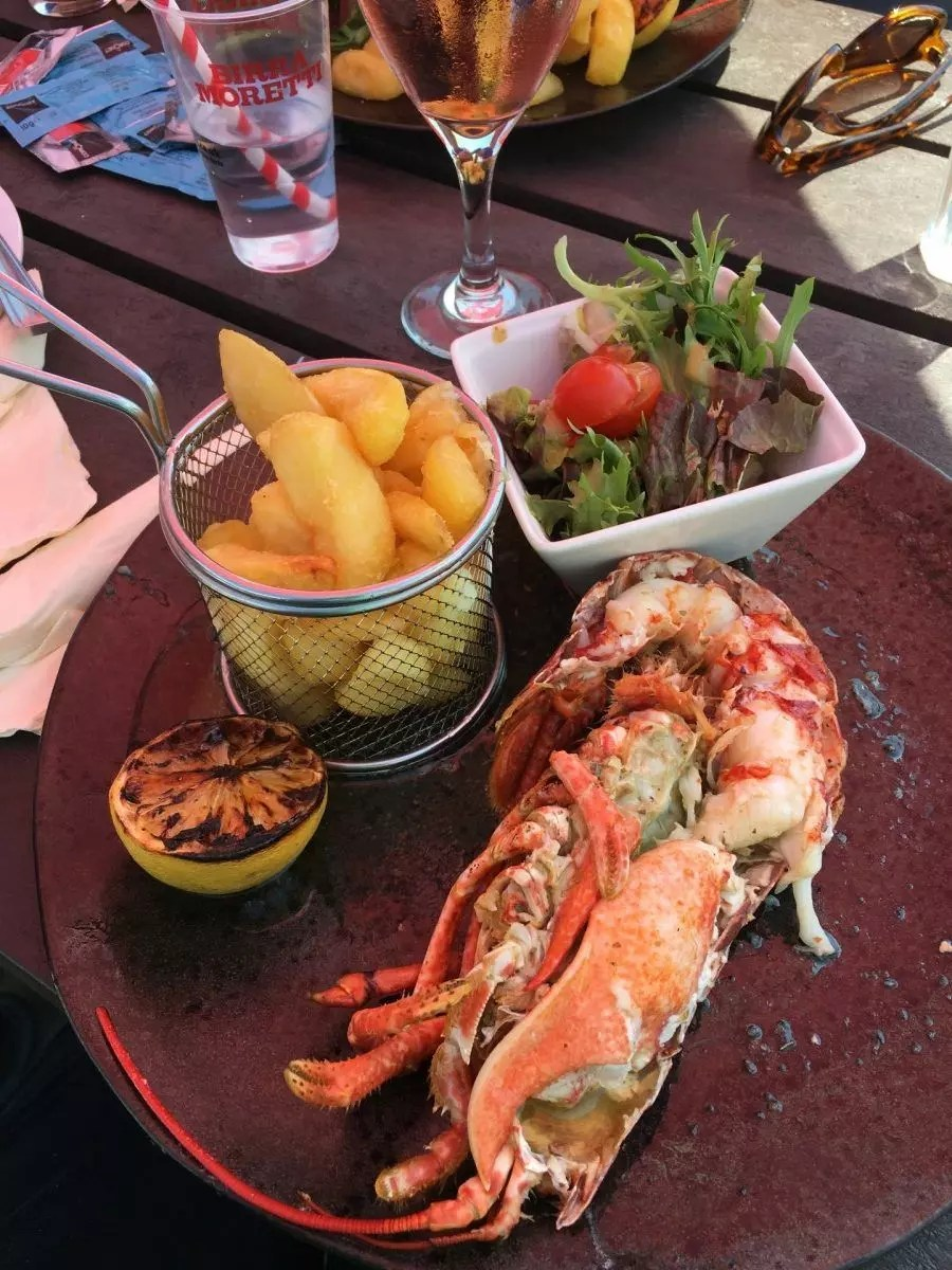 Gluten free lobster and chips, Isle of Wight