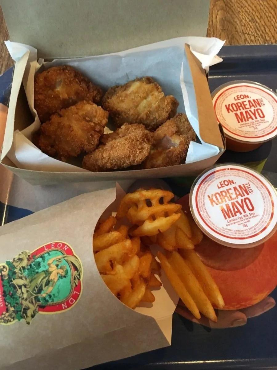 gluten free chicken nuggets at Leon