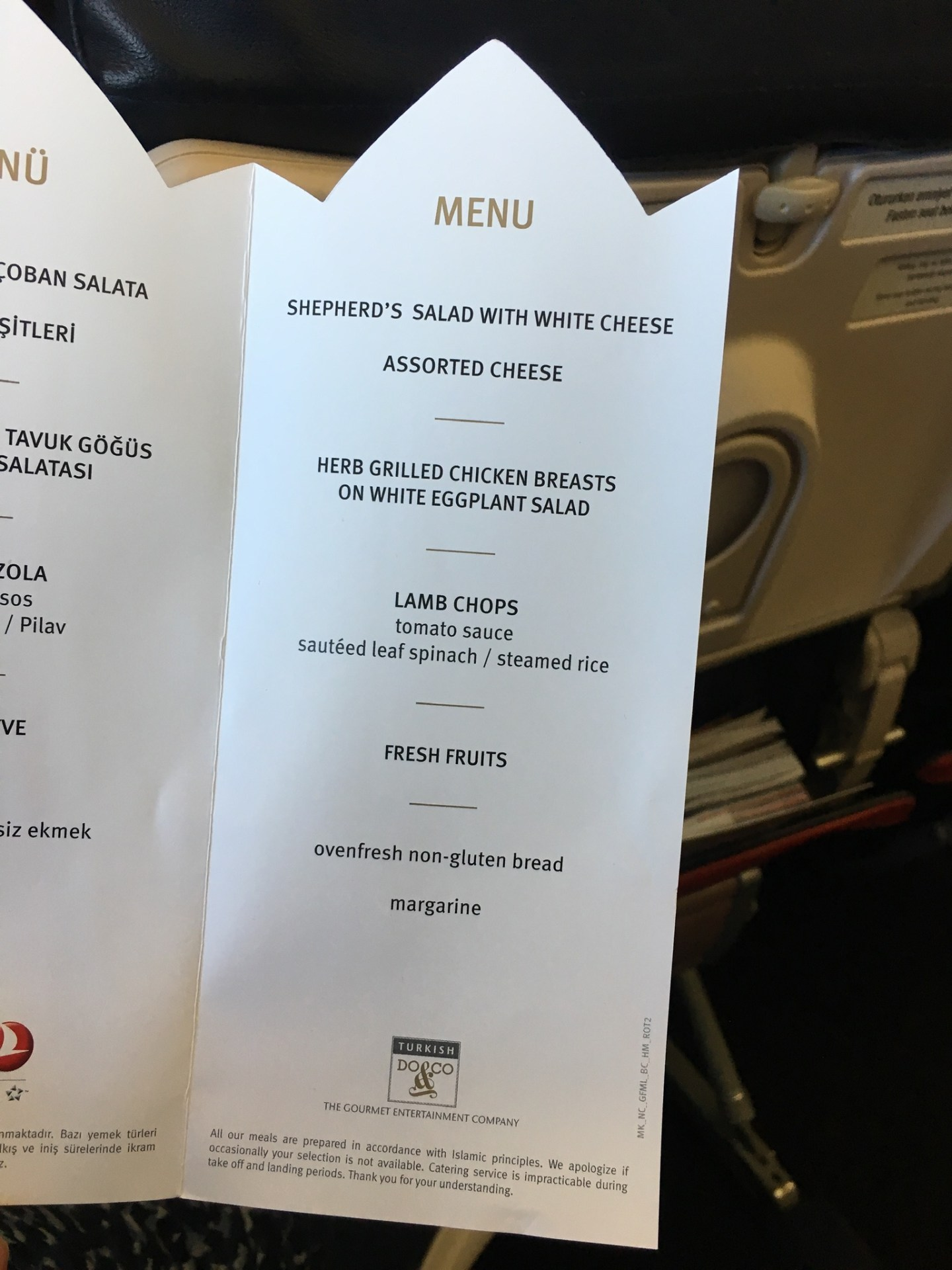 gluten free menu card on Turkish Airlines