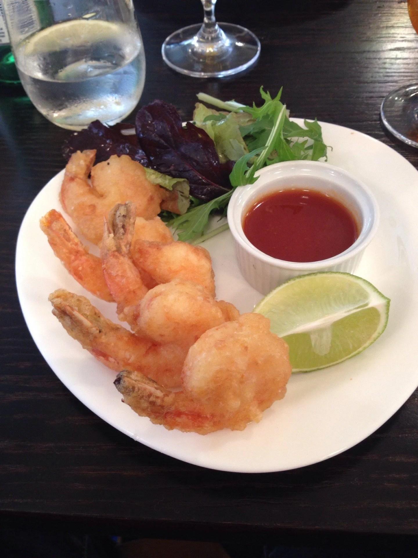Deliciously crunchy prawn tempura at Oscar and Bentley's
