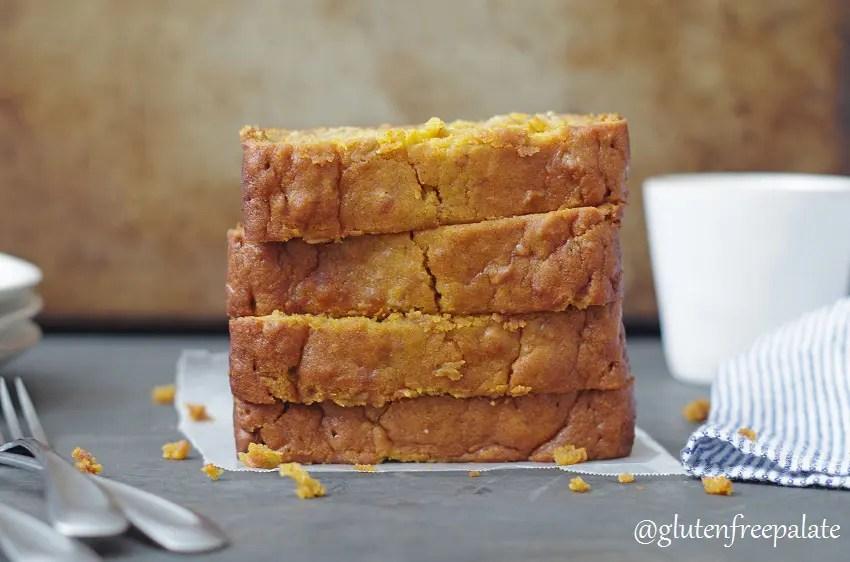 four slices of gluten free pumpkin bread stacked
