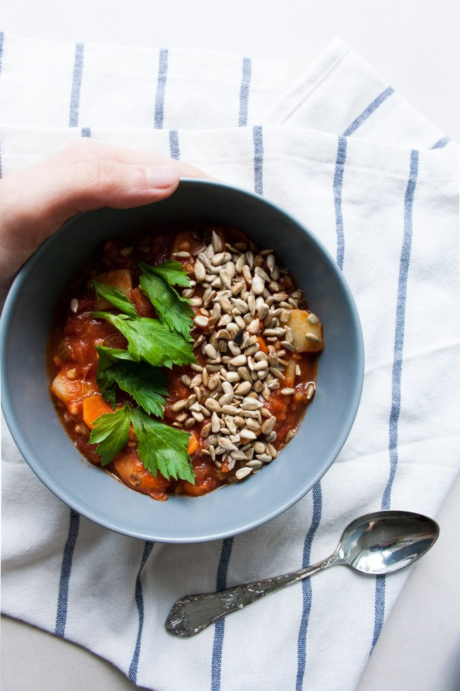 This Low FODMAP Tomato Stew Soup is tomato-infused, healthy soup, perfect comfort food for rainy days. Plus economical and vegan-friendly.