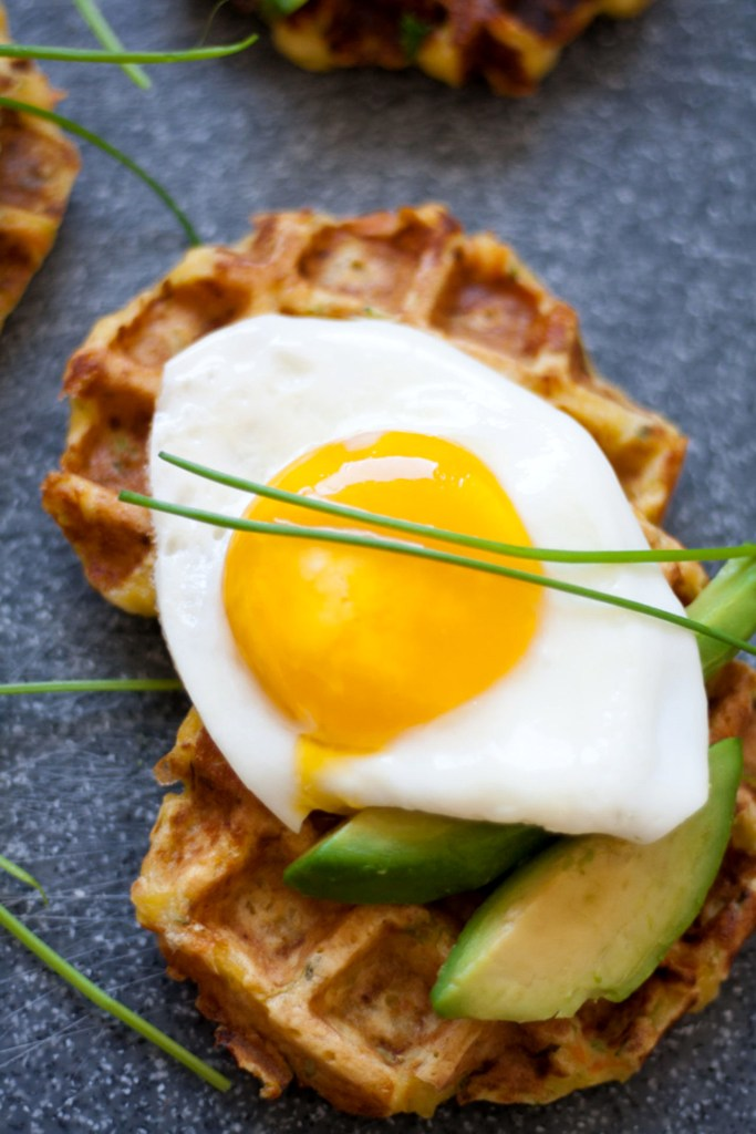 Food photography,Veggie Waffles with avo and egg.