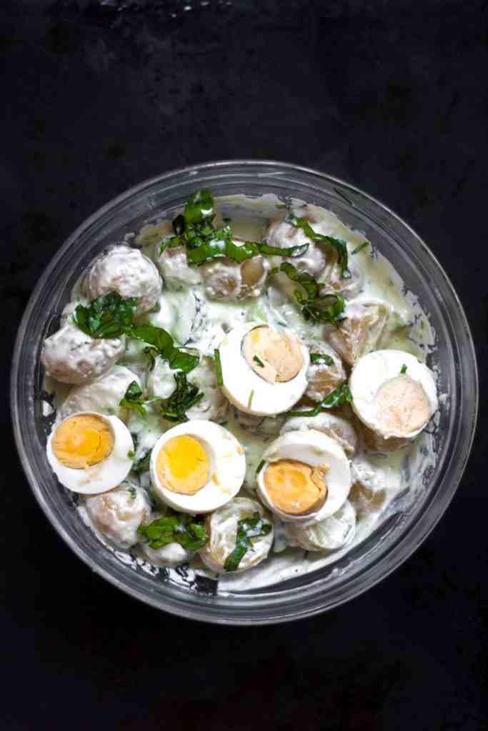 A bowl of healthy Potato Salad