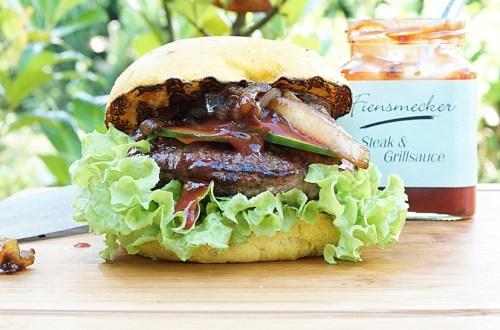 Salsiccia Burger mit Whiskey Zwiebeln
