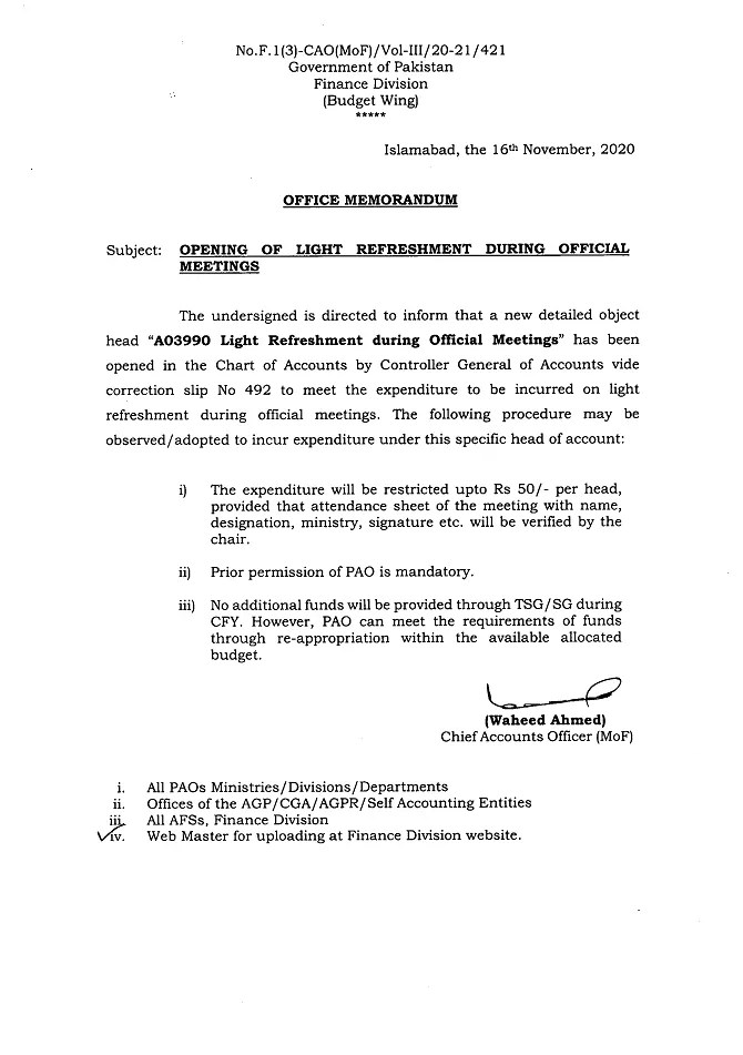 Notification of Opening of Light refreshment During Official Meetings