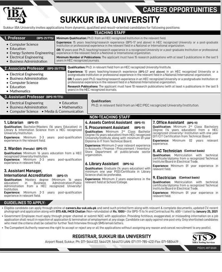 Teaching Jobs December 2020 through STS in Sukkur IBA University