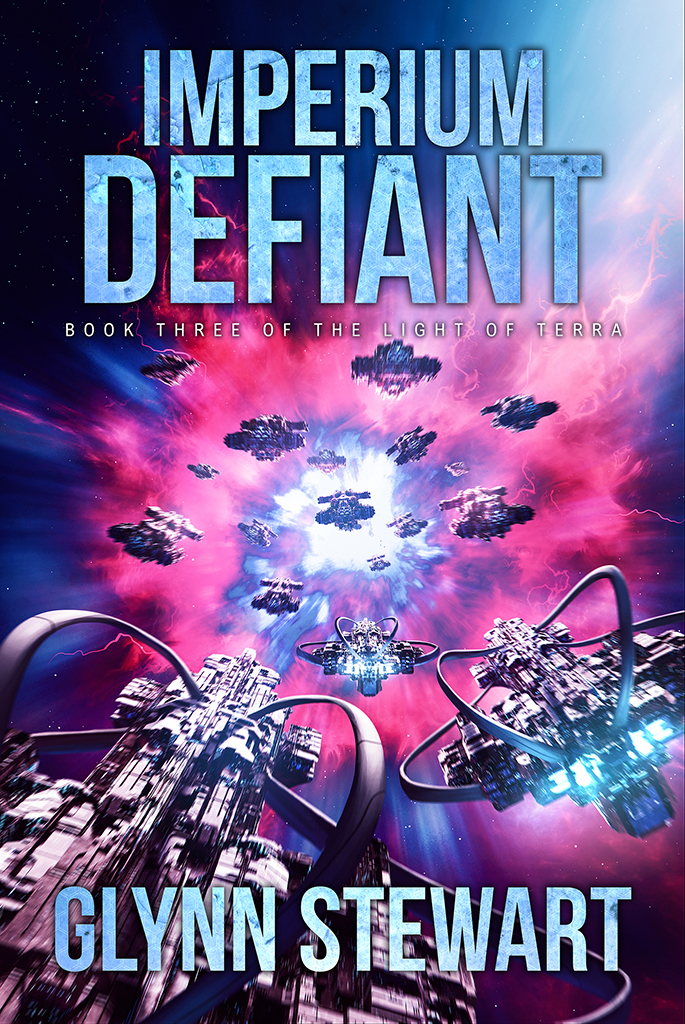 Imperium Defiant by Glynn Stewart, the final book in the Light of Terra trilogy.