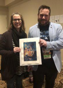 Photo of Glynn Stewart and Rachel Quinlan with artwork