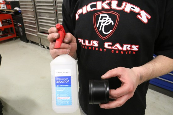 Getting all the couplers on can be a challenge on any forced induction installation. To help lube the silicone couplers and make hose assembly easier, Brady gives them a shot of rubbing alcohol. The hoses will slip right on, and it leaves no mess to clean up.