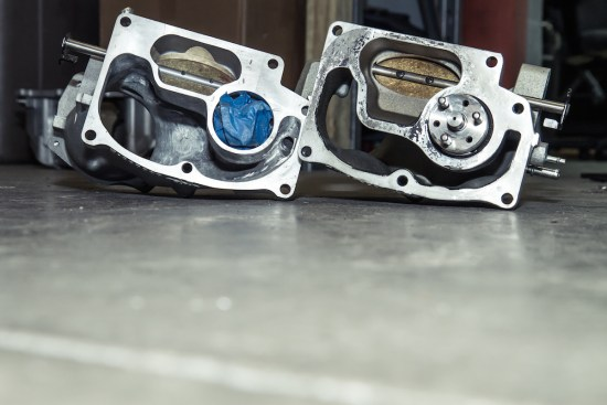 Here is a side-by-side of the snouts. Note that the left snout is from a ZR1 Corvette's LS9 and the right is from a CTS-V LSA. The major difference is the size of the bypass, but you can get the idea.
