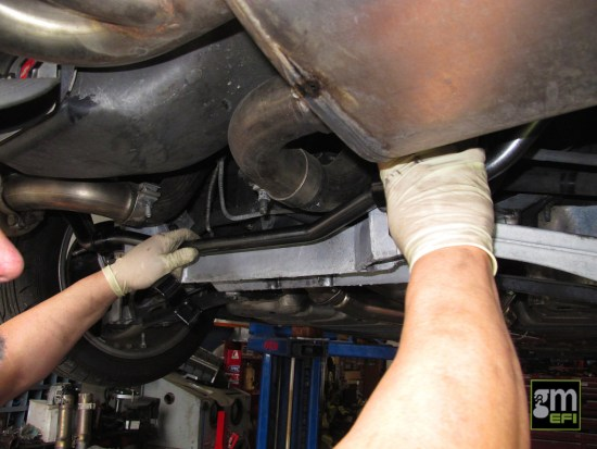 For the rear sway bar, the removal and installation procedure is identical to the front.