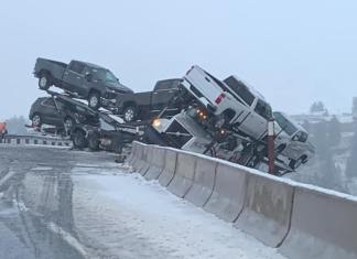 A Truckload Of Brand New Chevy Silverado! Hanging Off A Cliff! In A Snowstorm!